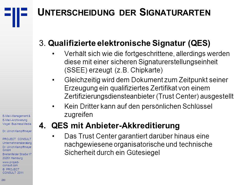 290 E-Mail-Management & E-Mail-Archivierung Vogel Business Media Dr. Ulrich Kampffmeyer PROJECT CONSULT Unternehmensberatung Dr. Ulrich Kampffmeyer Gm