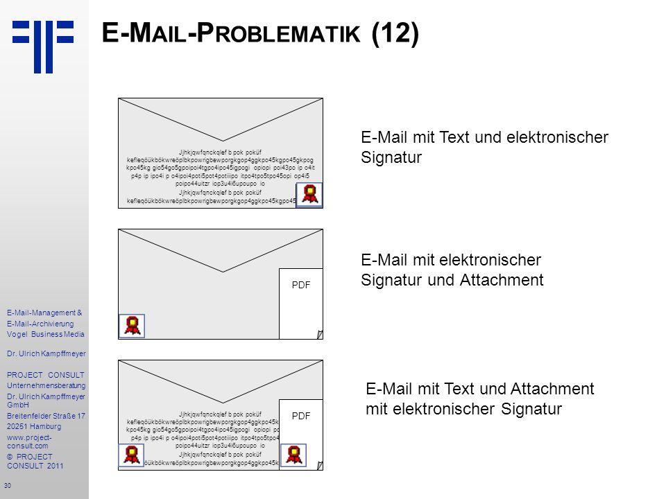 30 E-Mail-Management & E-Mail-Archivierung Vogel Business Media Dr. Ulrich Kampffmeyer PROJECT CONSULT Unternehmensberatung Dr. Ulrich Kampffmeyer Gmb