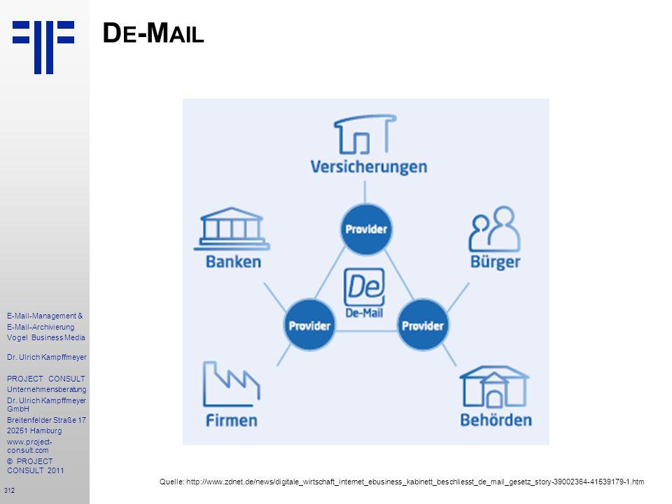 312 E-Mail-Management & E-Mail-Archivierung Vogel Business Media Dr. Ulrich Kampffmeyer PROJECT CONSULT Unternehmensberatung Dr. Ulrich Kampffmeyer Gm