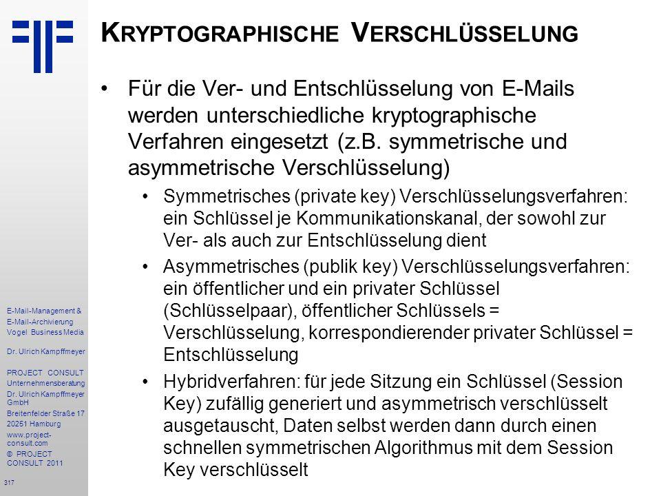 317 E-Mail-Management & E-Mail-Archivierung Vogel Business Media Dr. Ulrich Kampffmeyer PROJECT CONSULT Unternehmensberatung Dr. Ulrich Kampffmeyer Gm