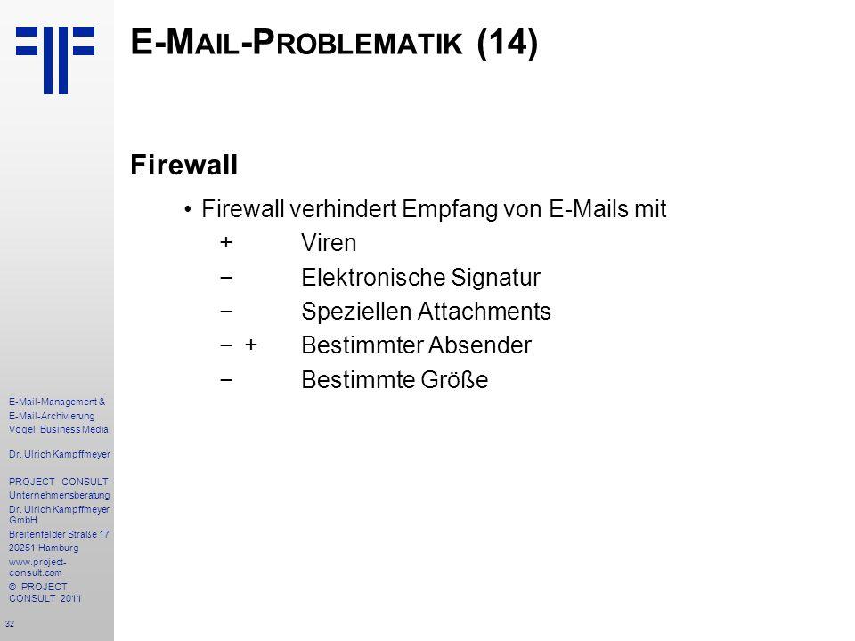 32 E-Mail-Management & E-Mail-Archivierung Vogel Business Media Dr. Ulrich Kampffmeyer PROJECT CONSULT Unternehmensberatung Dr. Ulrich Kampffmeyer Gmb