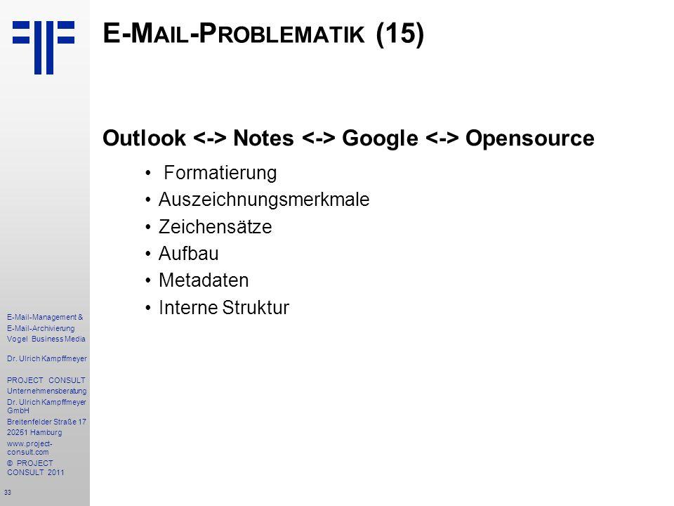 33 E-Mail-Management & E-Mail-Archivierung Vogel Business Media Dr. Ulrich Kampffmeyer PROJECT CONSULT Unternehmensberatung Dr. Ulrich Kampffmeyer Gmb