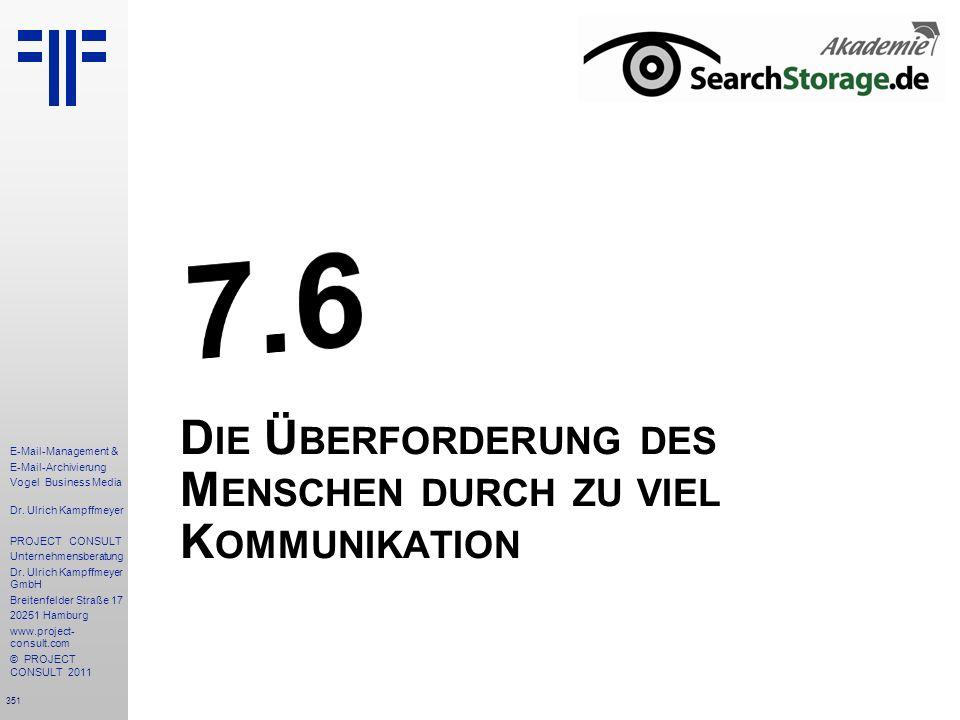 351 E-Mail-Management & E-Mail-Archivierung Vogel Business Media Dr. Ulrich Kampffmeyer PROJECT CONSULT Unternehmensberatung Dr. Ulrich Kampffmeyer Gm