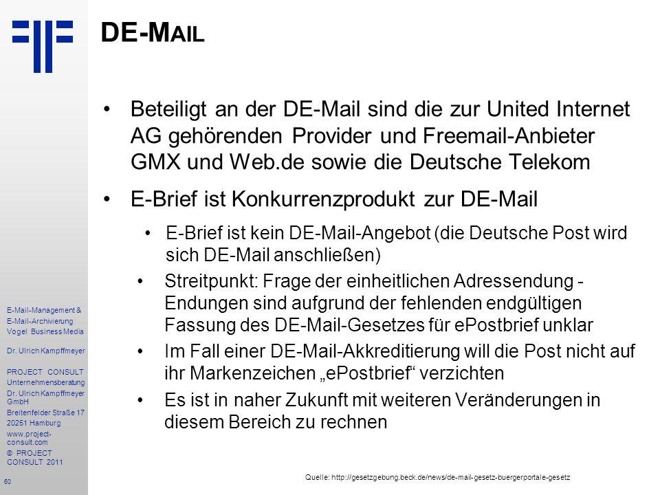 60 E-Mail-Management & E-Mail-Archivierung Vogel Business Media Dr. Ulrich Kampffmeyer PROJECT CONSULT Unternehmensberatung Dr. Ulrich Kampffmeyer Gmb