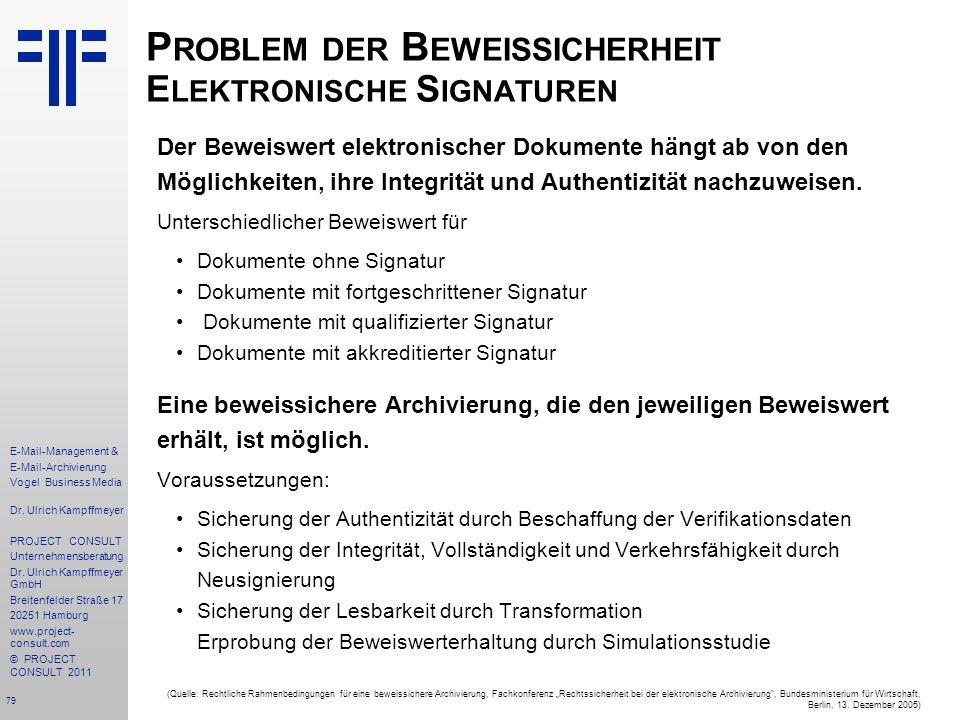 79 E-Mail-Management & E-Mail-Archivierung Vogel Business Media Dr. Ulrich Kampffmeyer PROJECT CONSULT Unternehmensberatung Dr. Ulrich Kampffmeyer Gmb