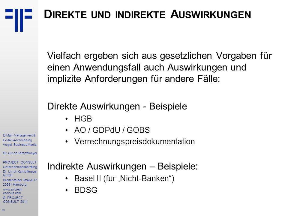 89 E-Mail-Management & E-Mail-Archivierung Vogel Business Media Dr. Ulrich Kampffmeyer PROJECT CONSULT Unternehmensberatung Dr. Ulrich Kampffmeyer Gmb