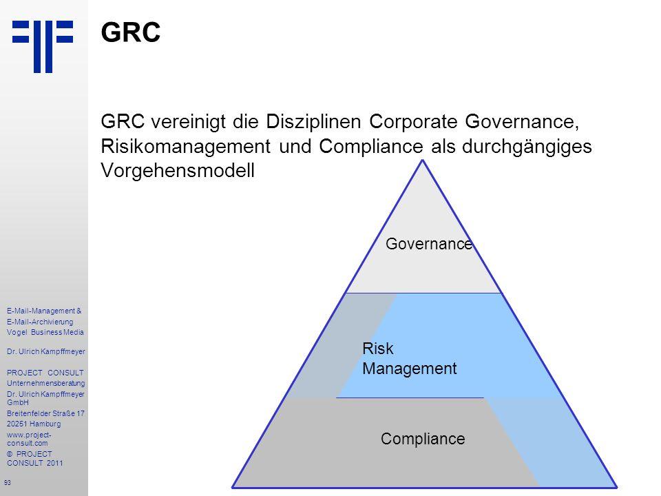 93 E-Mail-Management & E-Mail-Archivierung Vogel Business Media Dr. Ulrich Kampffmeyer PROJECT CONSULT Unternehmensberatung Dr. Ulrich Kampffmeyer Gmb