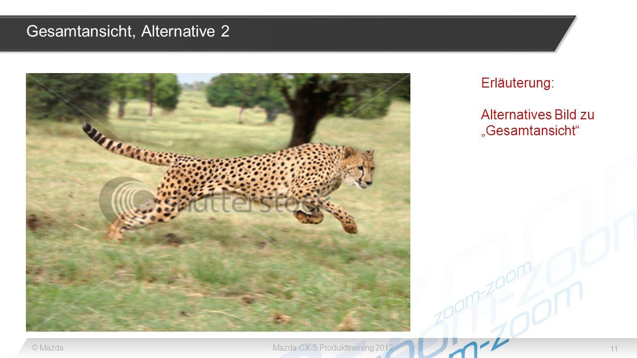11 © MazdaMazda CX-5 Produkttraining 2012 Gesamtansicht, Alternative 2 Erläuterung: Alternatives Bild zu Gesamtansicht