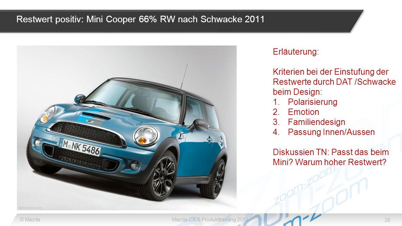 26 © MazdaMazda CX-5 Produkttraining 2012 Restwert positiv: Mini Cooper 66% RW nach Schwacke 2011 Erläuterung: Kriterien bei der Einstufung der Restwe