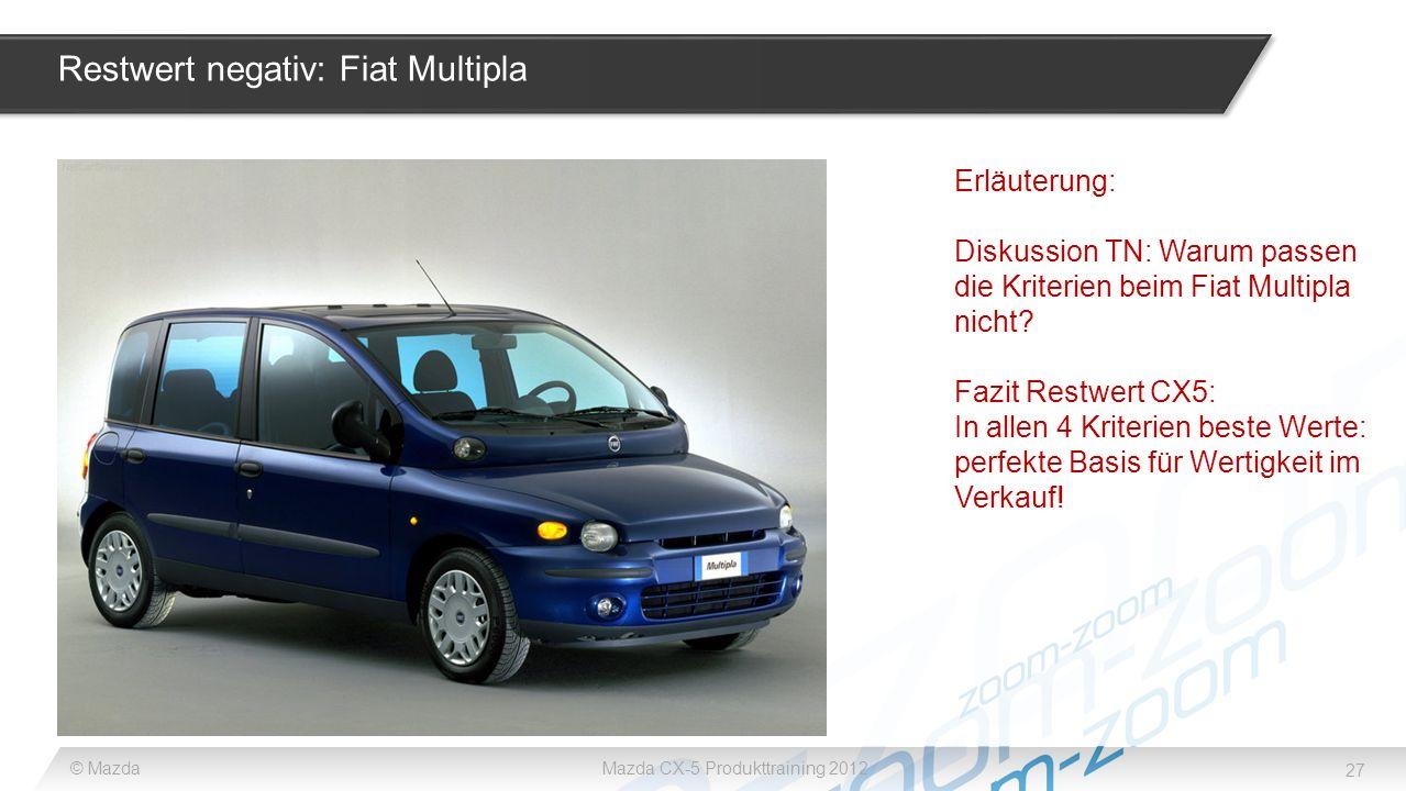 27 © MazdaMazda CX-5 Produkttraining 2012 Restwert negativ: Fiat Multipla Erläuterung: Diskussion TN: Warum passen die Kriterien beim Fiat Multipla ni