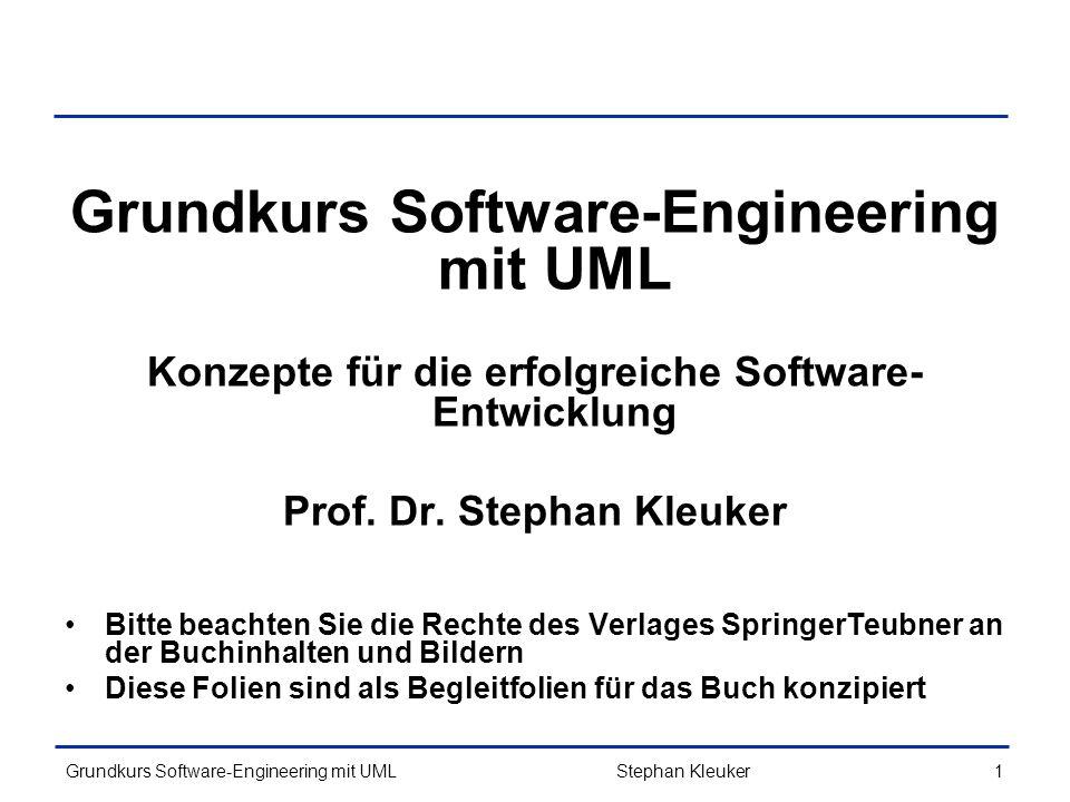 Grundkurs Software-Engineering mit UML292 Beispiel 9/12 : Umsetzung 3/3 public void dialog() { EinUndAusgabe ea = new EinUndAusgabe(); int eingabe = -1; while (eingabe != 0) { System.out.println( (0) Programm beenden ); for(int tmp:this.aktionen.keySet()){ System.out.println( ( +tmp+ ) + this.aktionen.get(tmp)); } eingabe = ea.leseInteger(); Command com = this.aktionen.get(eingabe); if(com !=null){ com.execute(); } System.out.println(this.rechner); } Stephan Kleuker