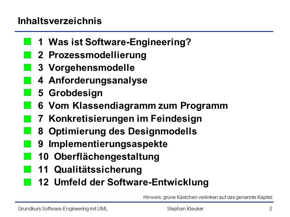 Grundkurs Software-Engineering mit UML253 Method Chaining (3/3) public IntMenge groesserAls(int grenze){ IntMenge ergebnis = new IntMenge(); for(int w:this.menge){ if(w > grenze){ ergebnis.hinzu(w); } return ergebnis; } public boolean beinhaltet(int wert){ return this.menge.contains(wert); } @Override public String toString(){ return this.menge.toString(); } Stephan Kleuker