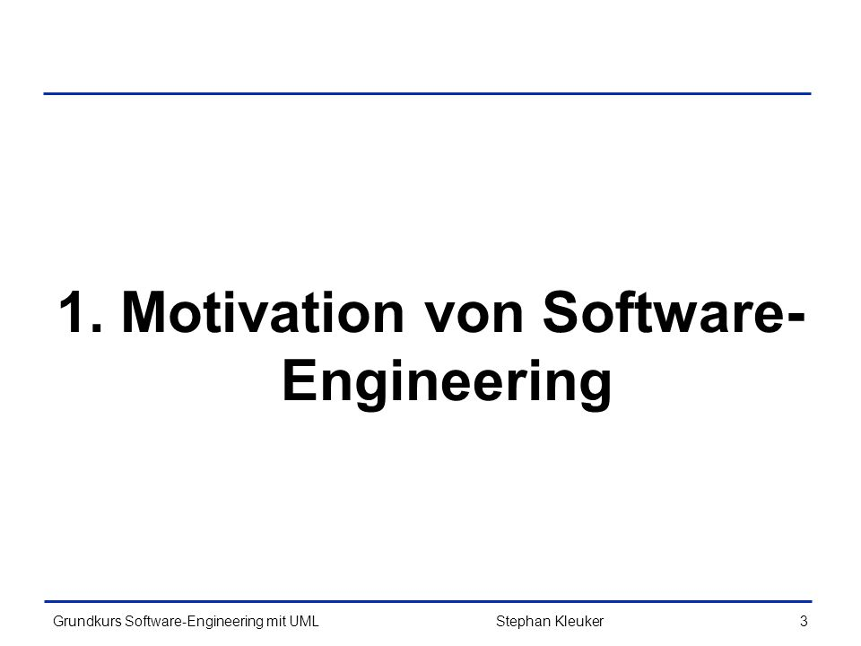 Grundkurs Software-Engineering mit UML4Stephan Kleuker Historie des SW-Engineering (1/4) Ende 60er –Bedarf für Softwaretechnik neben der reinen Programmierung erstmals voll erkannt –Vorher sind zahlreiche große Programmentwicklungen (möglich durch verbesserte Hardwareeigenschaften) gescheitert –Arbeiten von Dijkstra 1968 (u.a.
