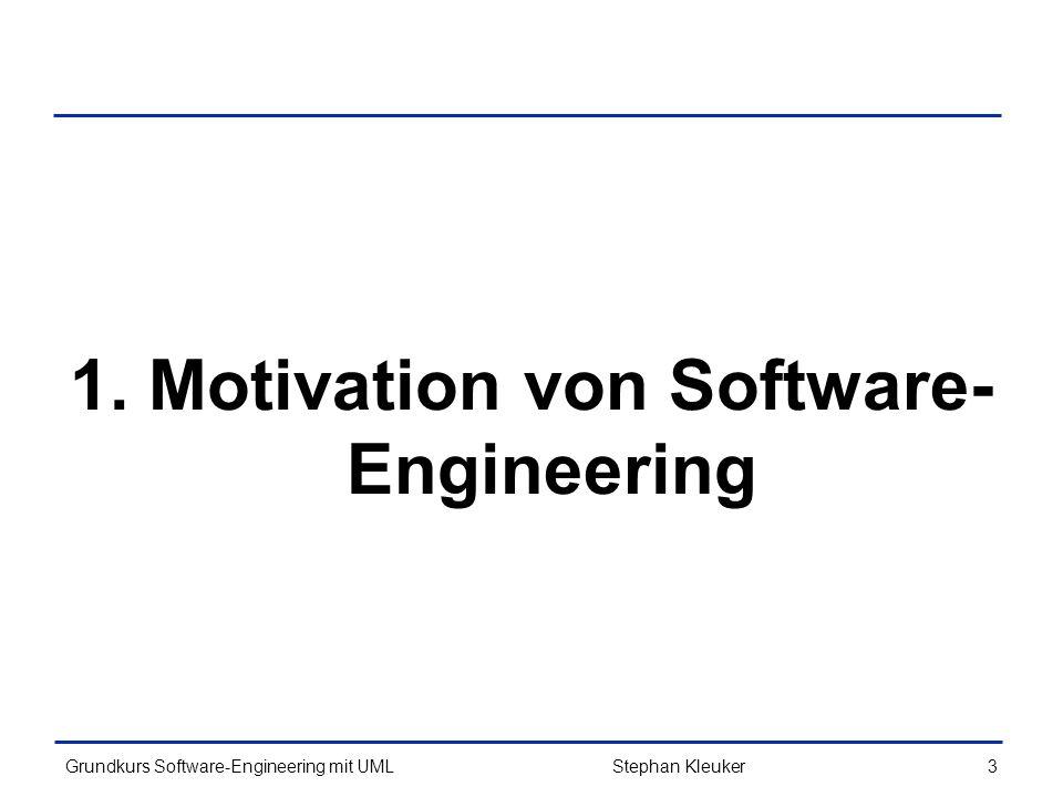 Grundkurs Software-Engineering mit UML274Stephan Kleuker Singleton (3/3) public class Main { public static void main(String[] s){ Singleton p1=Singleton.getPunkt(); Singleton p2=Singleton.getPunkt(); // Singleton sing= new Singleton(); //constructor not visible p1.ausgeben(); p2.ausgeben(); if(p1==p2) System.out.println( \n identisch ); p1.verschieben(3,5); p1.ausgeben(); p2.ausgeben(); Singleton p3=p1.clone(); if(p2==p3) System.out.println( \n identisch ); } [6,42][6,42] identisch [9,47][9,47] identisch