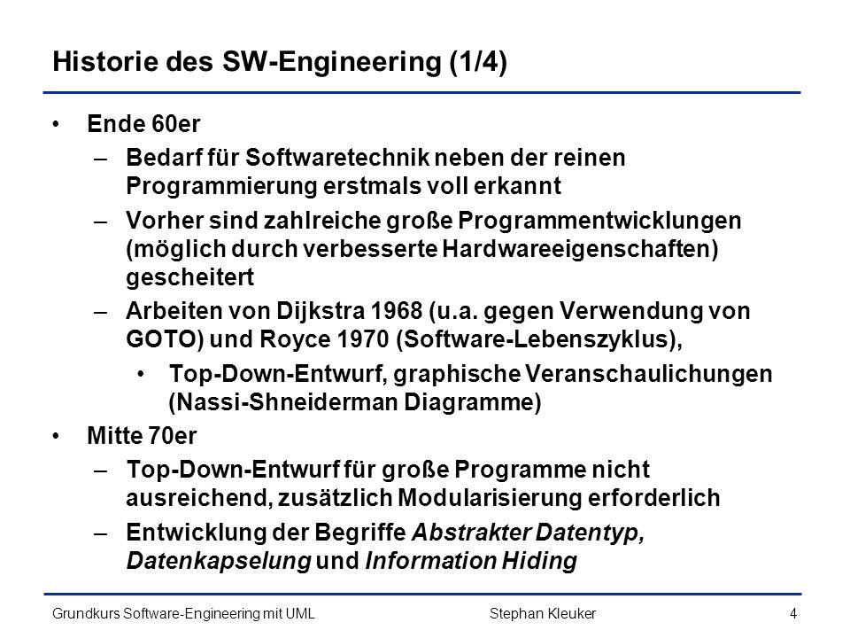 Grundkurs Software-Engineering mit UML135Stephan Kleuker Lastenheft / Pflichtenheft Lastenheft wird vom Auftraggeber (Kunden) geschrieben –welche Funktionalität ist gewünscht –welche Randbedingungen (SW/ HW) gibt es Pflichtenheft wird vom Auftragnehmer (Software- Entwicklung) geschrieben –welche Funktionalität wird realisiert –auf welcher Hardware läuft das System –welche SW-Schnittstellen (Versionen) berücksichtigt Variante: Kunde beauftragt Auftragnehmer direkt in Zusammenarbeit Pflichtenheft zu erstellen –ein gemeinsames Heft ist sinnvoll –Pflichtenheft ist meist (branchenabhängig) zu bezahlen 4.6