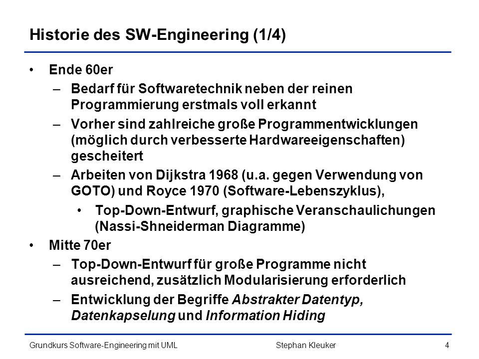 Grundkurs Software-Engineering mit UML245 Design by Contract Stephan Kleuker