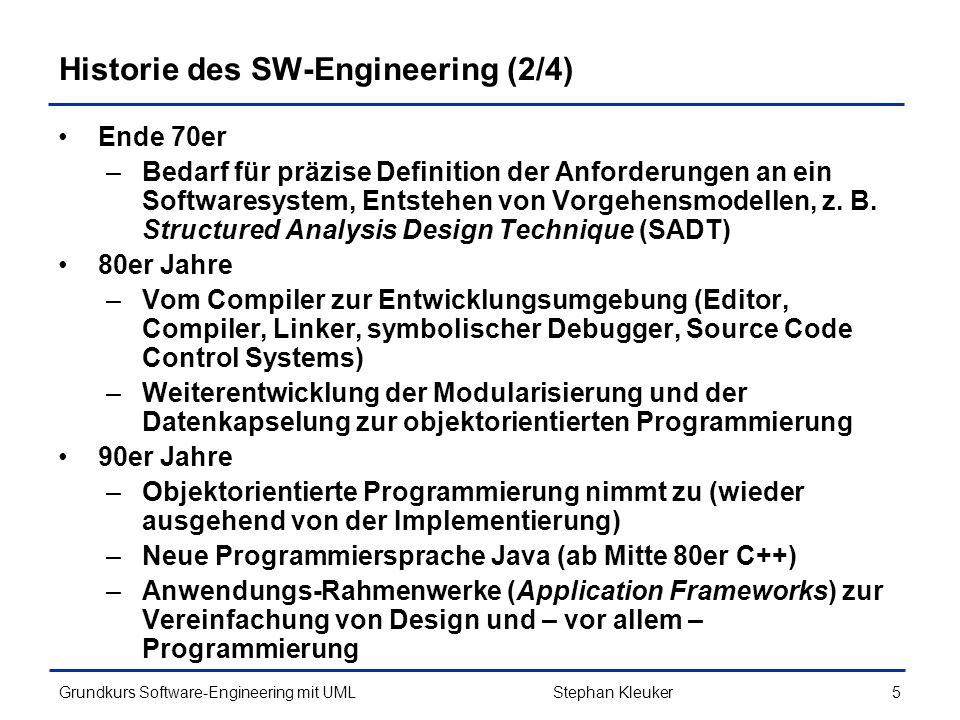 Grundkurs Software-Engineering mit UML106Stephan Kleuker Beschreibung verschiedener Abläufe Bei Projekten mit enger Kundenbindung (z.B.