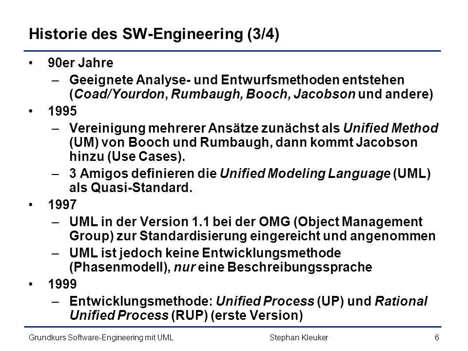Grundkurs Software-Engineering mit UML337Stephan Kleuker Beispiel JPA (2/2) – nur Überblick private EntityManagerFactory emf = Persistence.createEntityManagerFactory( JPAKonfigD atei ); private EntityManager em = emf.createEntityManager(); public void mitarbeiterBeispieldaten(){ Mitarbeiter m[]= {new Mitarbeiter( Egon ), new Mitarbeiter( Aische ), new Mitarbeiter( Urs )}; em.getTransaction().begin(); for (int i=0; i<m.length; i++) em.persist(m[i]); em.getTransaction().commit(); } public void datenZeigen() { for (Mitarbeiter m : em.createQuery( SELECT m FROM Mitarbeiter m ,Mitarbeiter.class).getResultList()) System.out.println(m.getId() + : + m.getName()); }