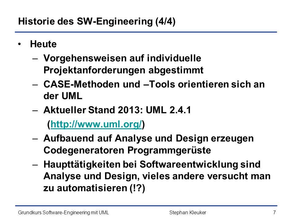 Grundkurs Software-Engineering mit UML258Stephan Kleuker Java-Beispiel zum MVC (3/6) import java.util.*; public class XModel{ private ArrayList listener = new ArrayList (); private int modellwert = 42; //Verwaltung der Listener des Modells public void addXModelListener(XModelListener x){ this.listener.add(x); } private void fireXModelChanged(){ for(XModelListener x:this.listener) x.xModelChanged(); } //Auslesen der Modellinhalte public int getWert(){ return this.modellwert; } //Veränderung des Modells public void changeValue(int delta){ this.modellwert += delta; fireXModelChanged(); }