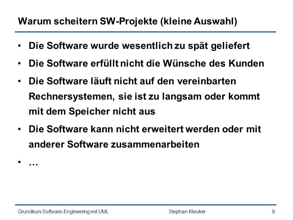 Grundkurs Software-Engineering mit UML319Stephan Kleuker Idee von Komponenten Komponenten sind komplexe in sich abgeschlossene binäre SW-Bausteine, die größere Aufgaben übernehmen können Ansatz: SW statt aus kleinen Programmzeilen aus großen Komponenten (+ Klebe-SW) zusammen bauen Komponenten werden konfiguriert, dazu gibt es get-/set- Methoden (Schnittstelle) oder/und Konfigurationsdateien Beispiel Swing-Klassen, wie JButton haben (u.