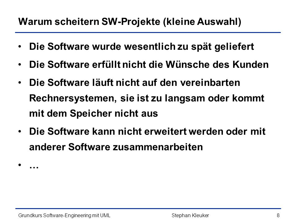 Grundkurs Software-Engineering mit UML259Stephan Kleuker Java-Beispiel zum MVC (4/6) import javax.swing.*; public class XView extends JFrame implements XModelListener{ private XModel xmodel; private JLabel jlabel = new JLabel( Modellwert: ); public XView(XModel x){ super( Ich bin der View ); this.xmodel = x; this.xmodel.addXModelListener(this); //Rest Swing für Anzeige getContentPane().add(this.jlabel); setDefaultCloseOperation(EXIT_ON_CLOSE); setSize(250,60); setLocation(0,0); setVisible(true); } public void xModelChanged() { this.jlabel.setText( Modellwert: + this.xmodel.getWert()); }