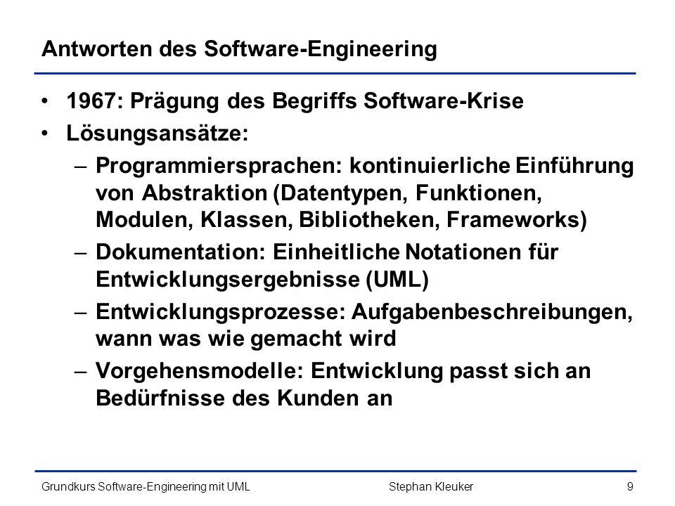 Grundkurs Software-Engineering mit UML330Stephan Kleuker Skizze einer Beispielimplementierung (5/5) public class Projekt implements Knoteninformation{ private Eigenschaft[] eigenschaften = new Eigenschaft[8]; private BaumListe teilprojekte = new BaumListe ( Teilprojekte ); private BaumListe vorgaenger = new BaumListe ( Vorgaenger ); private BaumListe aufgaben = new BaumListe ( Aufgaben ); public int anzahlElemente() { return this.eigenschaften.length+3; } public Knoteninformation itesElement(int i) { switch(i){ case 0: case 1: case 2: case 3: case 4: case 5: case 6: case 7: return eigenschaften[i]; case 8: return vorgaenger; case 9: return teilprojekte; case 10:return aufgaben; } return null; } } // nur Ausschnitt