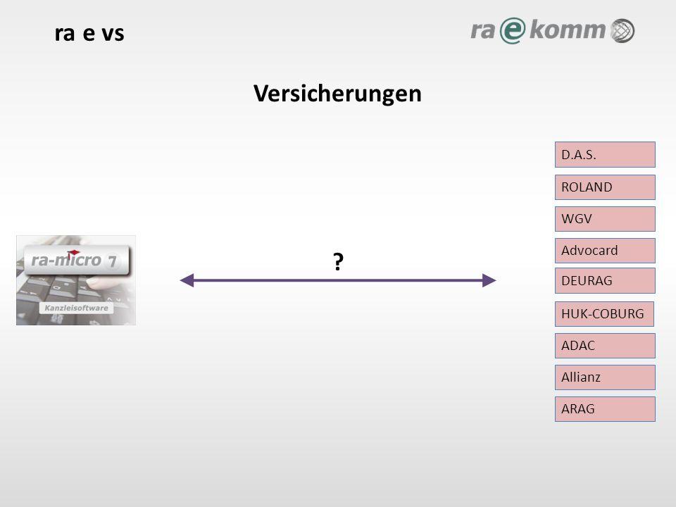 Versicherungen ra e vs HUK-COBURG ADAC Advocard ROLAND Allianz ARAG DEURAG D.A.S. WGV