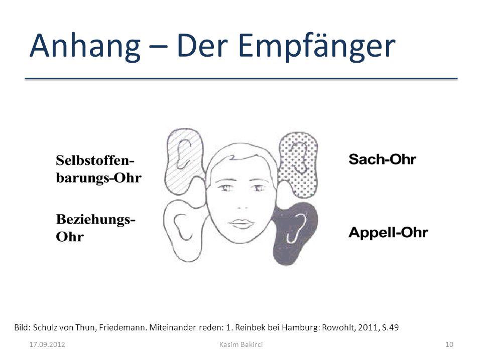 Anhang – Der Empfänger 17.09.2012Kasim Bakirci10 Bild: Schulz von Thun, Friedemann. Miteinander reden: 1. Reinbek bei Hamburg: Rowohlt, 2011, S.49