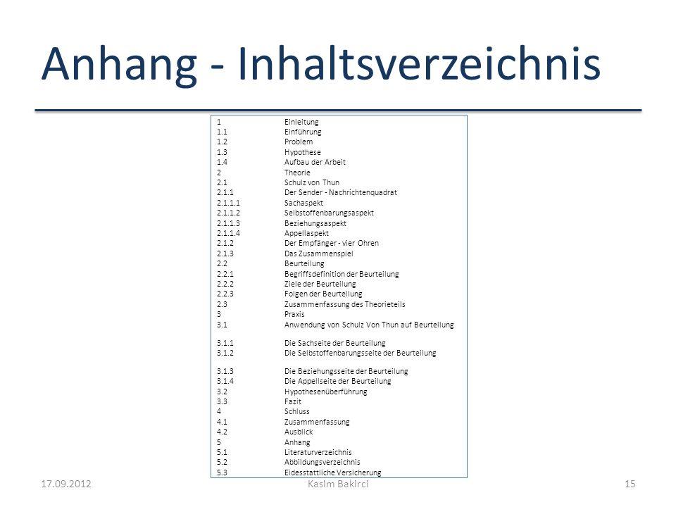 Anhang - Inhaltsverzeichnis 1Einleitung 1.1Einführung 1.2Problem 1.3Hypothese 1.4Aufbau der Arbeit 2Theorie 2.1Schulz von Thun 2.1.1Der Sender - Nachr