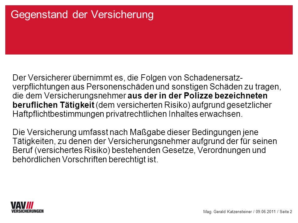 Mag. Gerald Katzensteiner / 09.06.2011 / Seite 1 Deckung / Haftung
