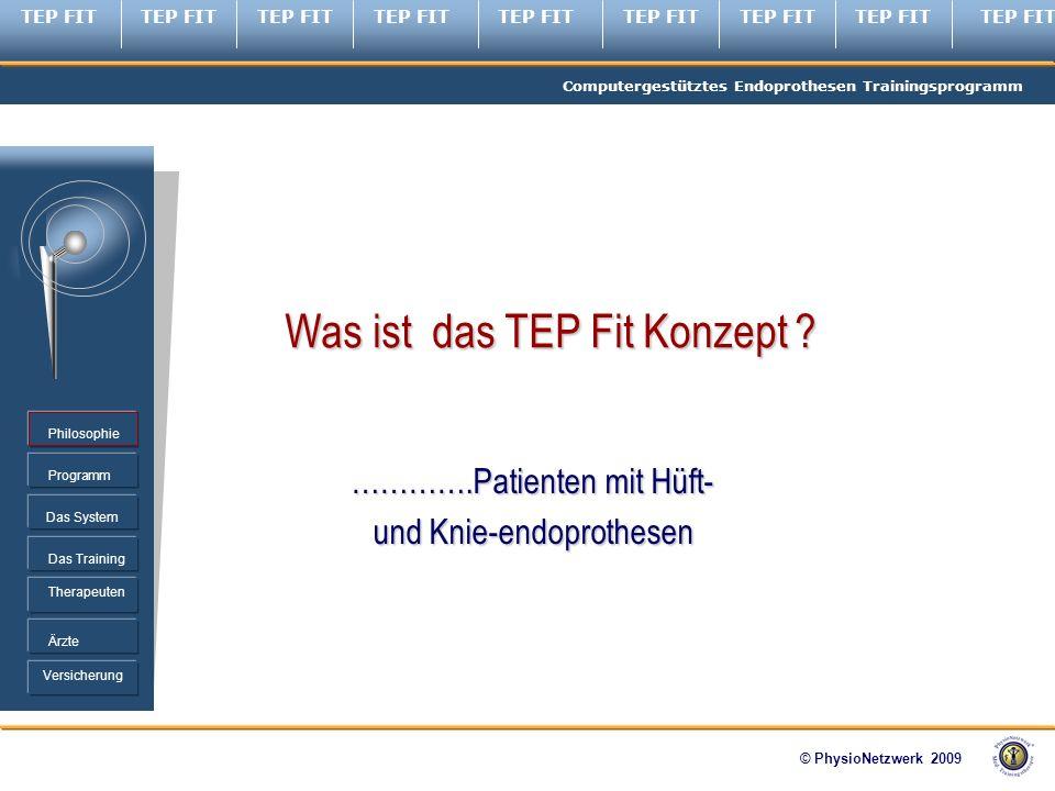 TEP FIT Computergestütztes Endoprothesen Trainingsprogramm © PhysioNetzwerk 2009 Programm Therapeuten Ärzte Philosophie Das System Das Training Versicherung Was ist das TEP Fit Konzept .