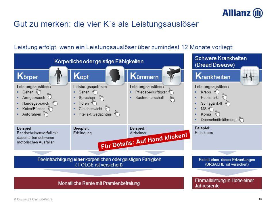 10 © Copyright Allianz 04/2012 Gut zu merken: die vier K´s als Leistungsauslöser Leistung erfolgt, wenn ein Leistungsauslöser über zumindest 12 Monate