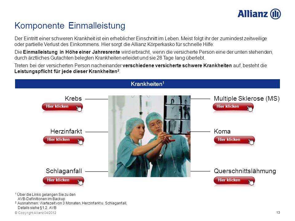 13 © Copyright Allianz 04/2012 Der Eintritt einer schweren Krankheit ist ein erheblicher Einschnitt im Leben. Meist folgt ihr der zumindest zeitweilig
