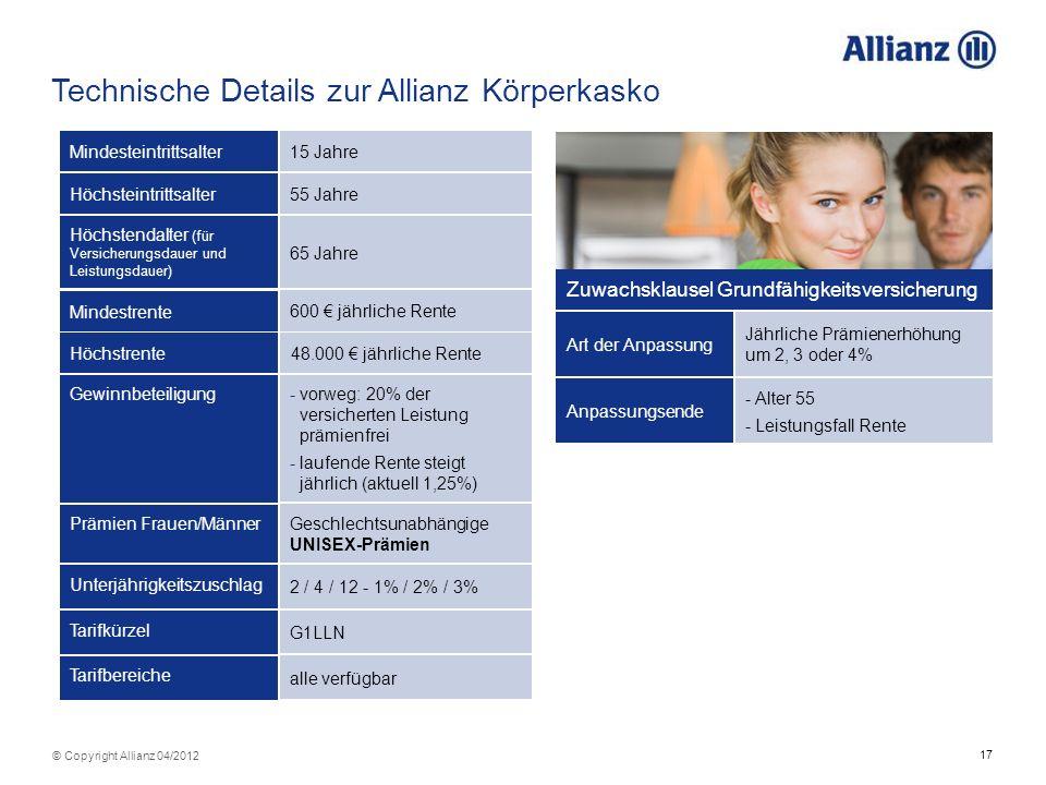 17 © Copyright Allianz 04/2012 Technische Details zur Allianz Körperkasko 2 / 4 / 12 - 1% / 2% / 3% Unterjährigkeitszuschlag G1LLN Tarifkürzel Geschle