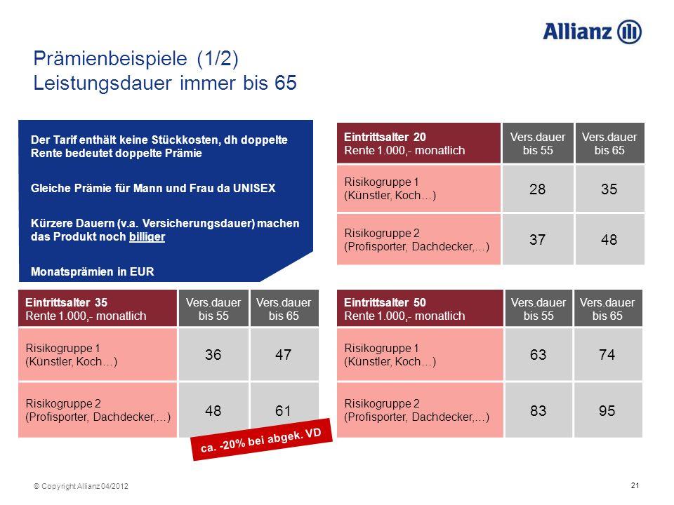 21 © Copyright Allianz 04/2012 Prämienbeispiele (1/2) Leistungsdauer immer bis 65 Eintrittsalter 35 Rente 1.000,- monatlich Vers.dauer bis 55 Vers.dau