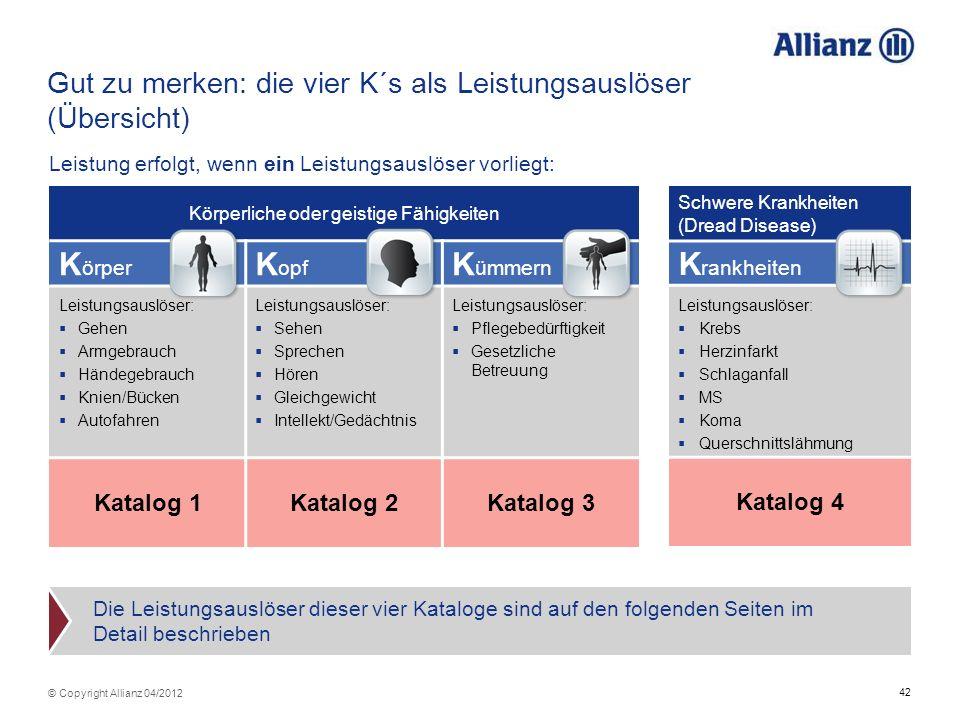 42 © Copyright Allianz 04/2012 Gut zu merken: die vier K´s als Leistungsauslöser (Übersicht) Leistung erfolgt, wenn ein Leistungsauslöser vorliegt: Kö