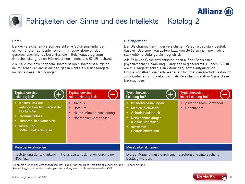 48 © Copyright Allianz 04/2012 Fähigkeiten der Sinne und des Intellekts – Katalog 2 Messbarkeitskriterien Die Schädigung muss durch eine neurologische