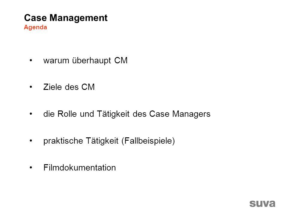 warum überhaupt CM Ziele des CM die Rolle und Tätigkeit des Case Managers praktische Tätigkeit (Fallbeispiele) Filmdokumentation Case Management Agenda