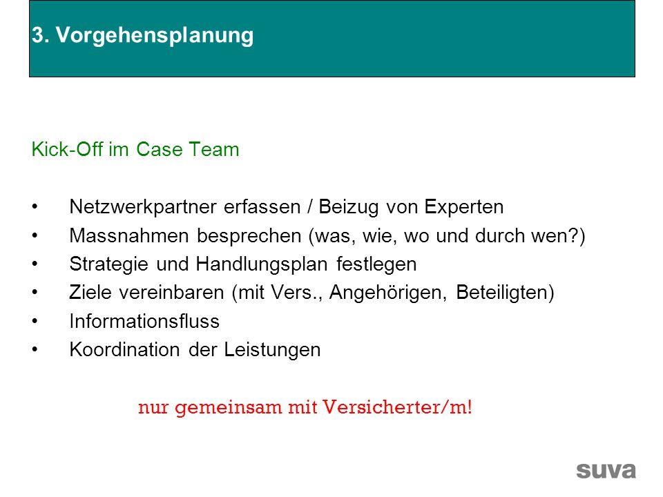 3. Vorgehensplanung Kick-Off im Case Team Netzwerkpartner erfassen / Beizug von Experten Massnahmen besprechen (was, wie, wo und durch wen?) Strategie
