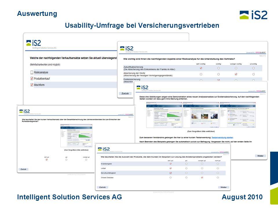 Usability-Umfrage bei Versicherungsvertrieben Auswertung Intelligent Solution Services AGAugust 2010