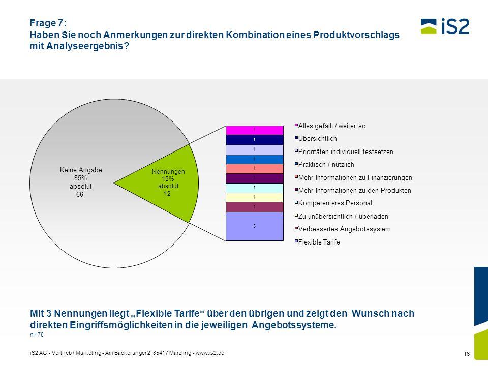 iS2 AG - Vertrieb / Marketing - Am Bäckeranger 2, 85417 Marzling - www.is2.de 16 Frage 7: Haben Sie noch Anmerkungen zur direkten Kombination eines Pr