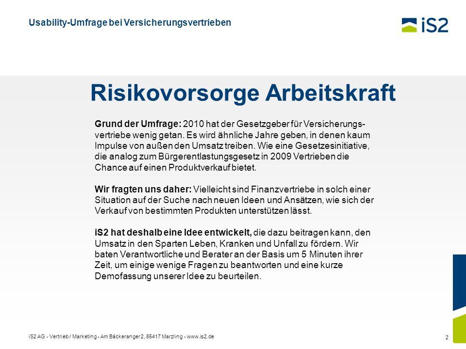 iS2 AG - Vertrieb / Marketing - Am Bäckeranger 2, 85417 Marzling - www.is2.de 2 Grund der Umfrage: 2010 hat der Gesetzgeber für Versicherungs- vertrie