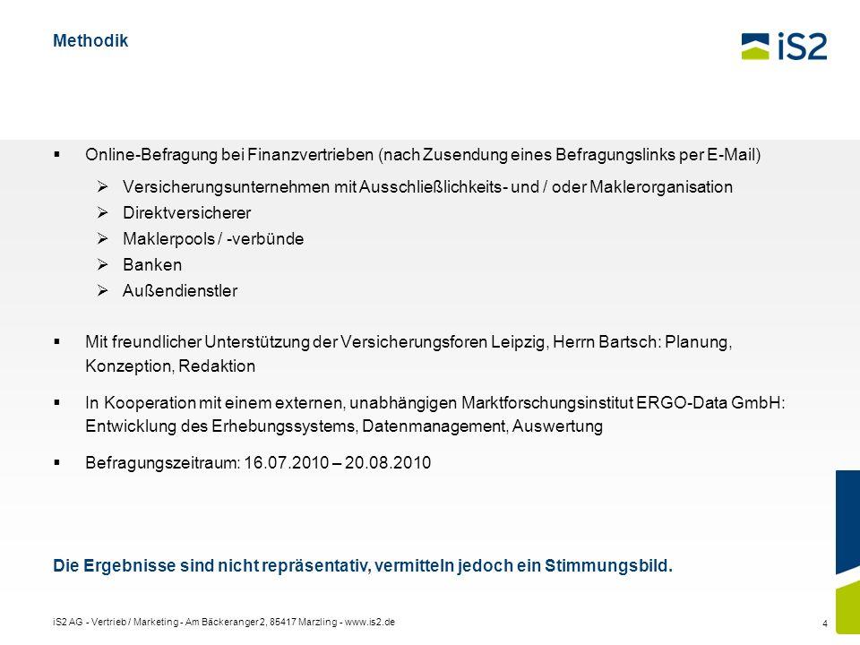 iS2 AG - Vertrieb / Marketing - Am Bäckeranger 2, 85417 Marzling - www.is2.de 4 Methodik Online-Befragung bei Finanzvertrieben (nach Zusendung eines B
