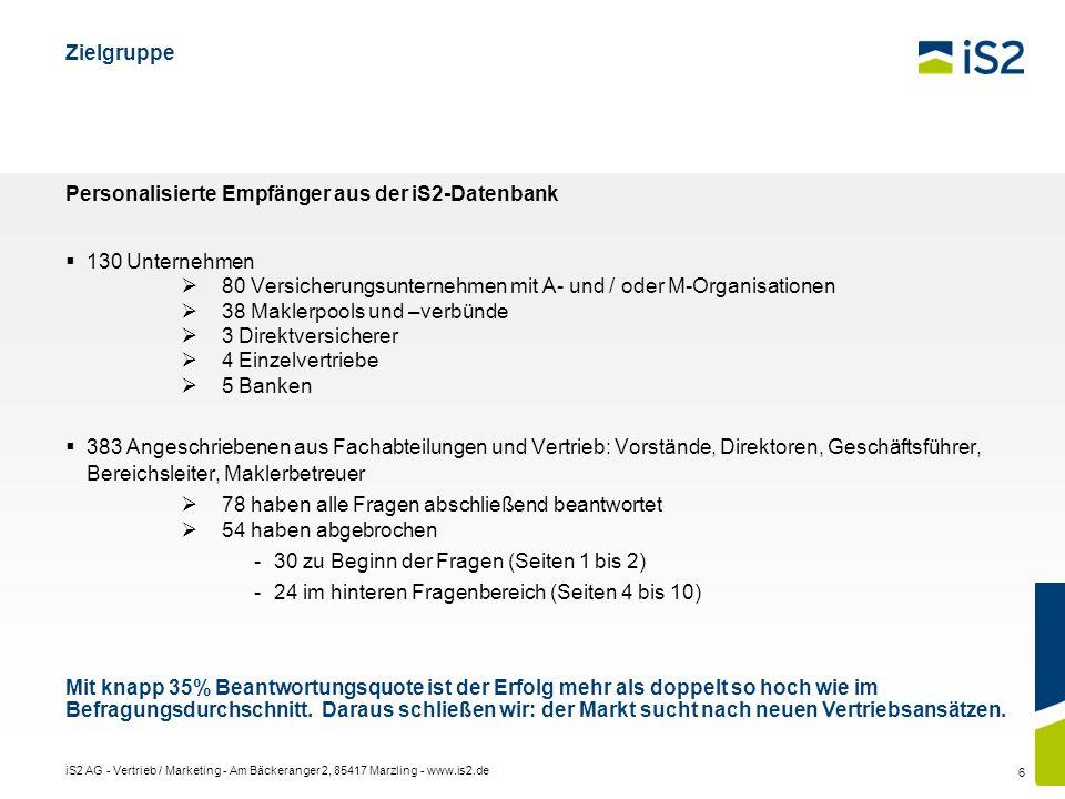 iS2 AG - Vertrieb / Marketing - Am Bäckeranger 2, 85417 Marzling - www.is2.de 6 Zielgruppe Personalisierte Empfänger aus der iS2-Datenbank 130 Unterne