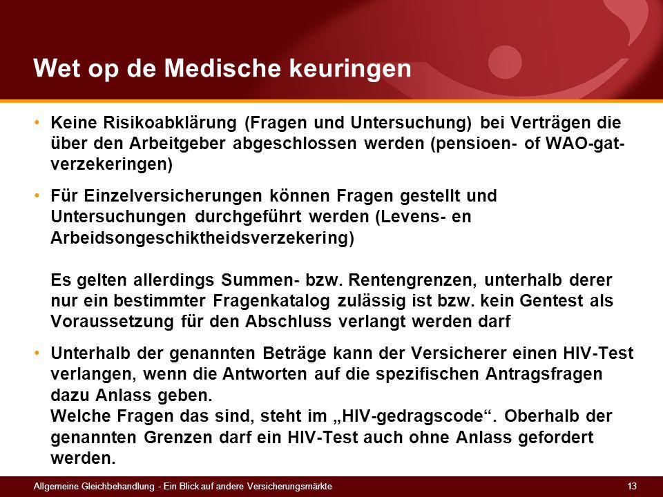 13Allgemeine Gleichbehandlung - Ein Blick auf andere Versicherungsmärkte Wet op de Medische keuringen Keine Risikoabklärung (Fragen und Untersuchung)