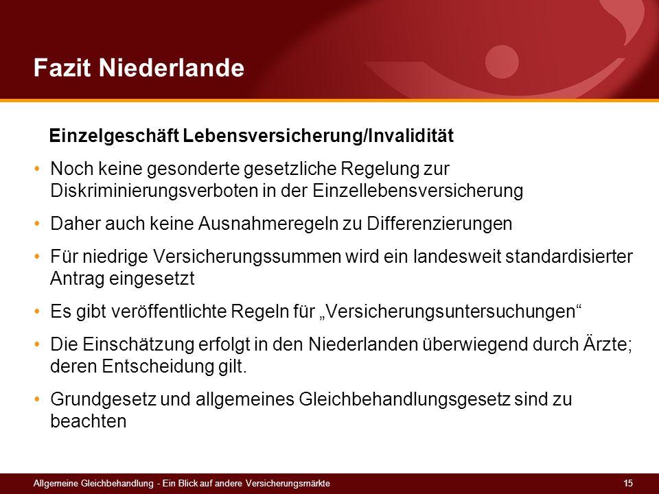 15Allgemeine Gleichbehandlung - Ein Blick auf andere Versicherungsmärkte Fazit Niederlande Einzelgeschäft Lebensversicherung/Invalidität Noch keine ge