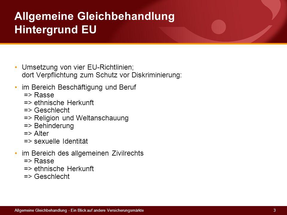 3Allgemeine Gleichbehandlung - Ein Blick auf andere Versicherungsmärkte Allgemeine Gleichbehandlung Hintergrund EU Umsetzung von vier EU-Richtlinien;