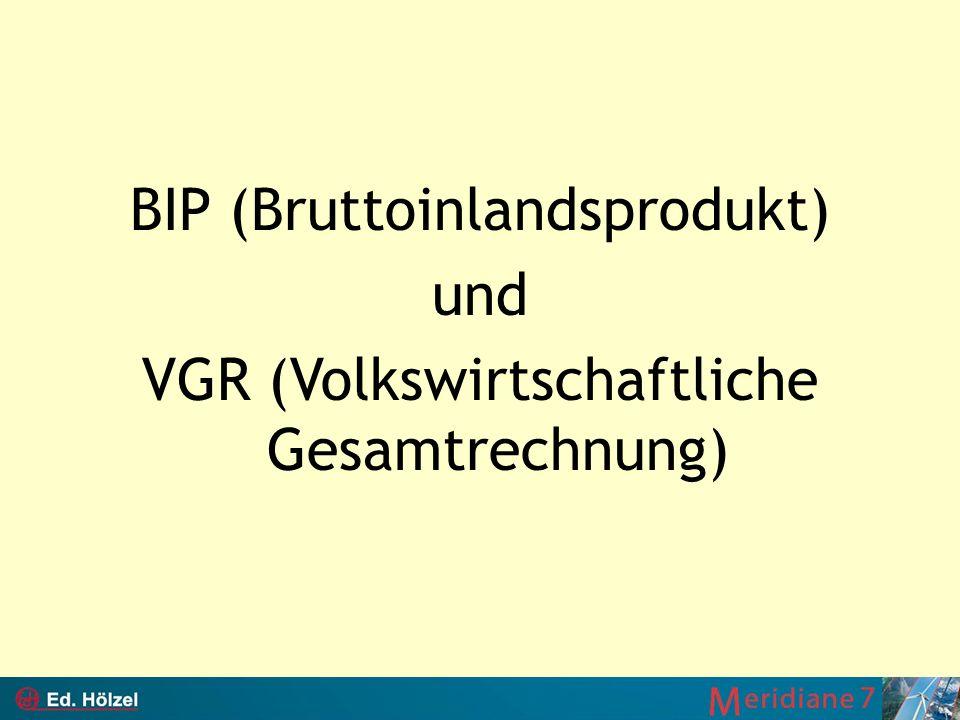 BIP (Bruttoinlandsprodukt) und VGR (Volkswirtschaftliche Gesamtrechnung)