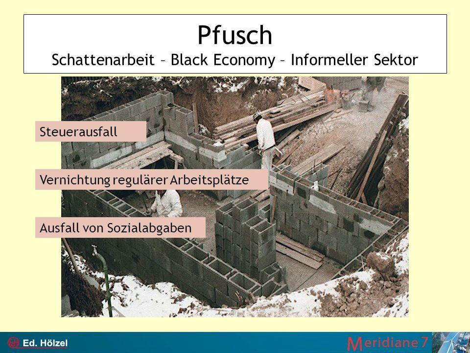Pfusch Schattenarbeit – Black Economy – Informeller Sektor Steuerausfall Vernichtung regulärer Arbeitsplätze Ausfall von Sozialabgaben