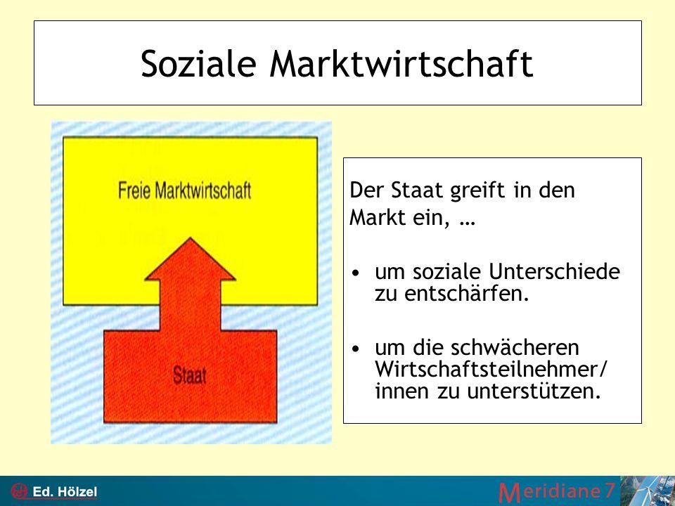 Soziale Marktwirtschaft Der Staat greift in den Markt ein, … um soziale Unterschiede zu entschärfen. um die schwächeren Wirtschaftsteilnehmer/ innen z